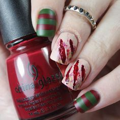 Freddy Krueger special effects nail art -- Halloween nail art-- by Instagram@armstrongnails