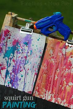 Kids will have a blast this summer with squirt gun painting! Great for home or camp! This is so much fun.