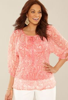 Plus Size Paisley Print Blouse Plus Size Shirts, Plus Size Blouses, Plus Size Tops, Plus Size Women, Pink Outfits, Cute Outfits, Fashion Outfits, Fashion 101, Stylish Plus Size Clothing