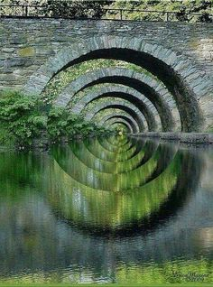 Stone Arch Bridge Over Troubled Waters by Erica Maxine Price - Place Winner Faa Optical Illusions, 2012 Ouvrages D'art, Foto Picture, Magic Places, Beautiful Places, Beautiful Pictures, Wonderful Places, Arch Bridge, Bridge Structure, All Nature