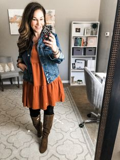Orange Dress Outfits, Casual Dress Outfits, Cute Fall Outfits, Mode Outfits, Fashion Outfits, Punk Fashion, Lolita Fashion, Fashion Boots, Winter Outfits