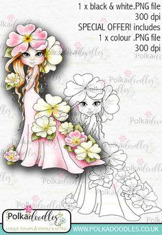 Primrose, The Darling Buds - Digital Craft Digi Stamp DOWNLOAD - Polkadoodles Ltd