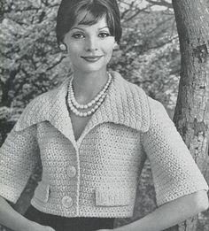 CROCHET PATTERN Vintage Shortie Jacket Instant от AdorishVintage Vintage Crochet Patterns, Vintage Knitting, Knitting Patterns, Craft Patterns, Sewing Patterns, Retro Fashion, Vintage Fashion, Material For Sale, Digital Pattern