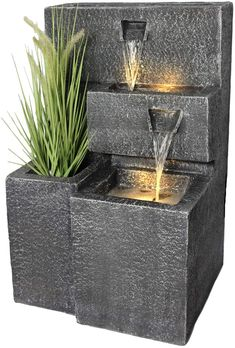 Patio Fountain, Garden Water Fountains, Indoor Fountain, Wall Of Water, Granite, Led Spots, Front Yard Design, Led Licht, Concrete Planters
