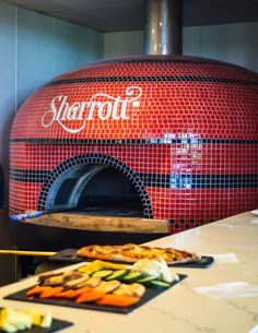 Sharrott Winery in Hammonton, NJ opened a full kitchen in the fall of 2017 featuring a custom tiled Pizza Art, Pizza Menu, Pizza Kitchen, Kitchen Oven, Wood Oven, Wood Fired Oven, Masonry Oven, Indoor Pizza Oven, Italian Restaurant Decor