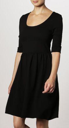 Black Scoop Neck Half Sleeve Jersey Dress