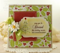 Inspired by Stamping, Joanna Munster, Christmas Cheer stamp set, Christmas Greetings stamp set, Holiday card, Christmas card