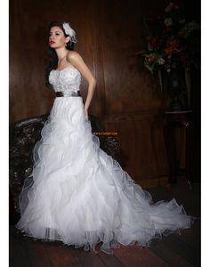 Chapel Train Sweetheart Organza Wedding Dresses 2014