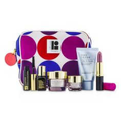 Estee Lauder Travel Set: Makeup Remover 30ml + Resilience Lift Creme 15ml+ Eye Creme 5ml + ANR II 7ml + Mascara 2.8ml + Lipstick #61 3.8g + Bag 6pcs+1bag Skincare