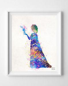 Frozen Poster Elsa Print Watercolor DIsney by InkistPrints on Etsy