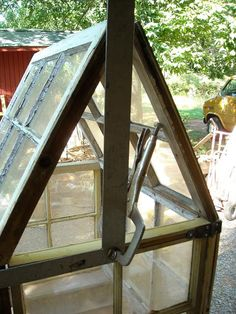 Welcome to the eighth Tips & Tricks Tuesday linky party at the Brambleberry Cottage. Diane @ Pittypat Paperie knew the party was st. Old Window Greenhouse, Diy Greenhouse Plans, Small Greenhouse, Old Windows, Windows And Doors, Garden Structures, Outdoor Structures, Large Terrarium, Outdoor Rooms