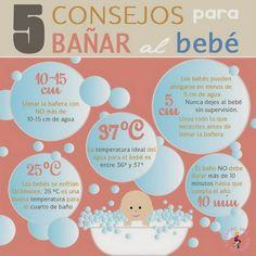 Mi pequeños aportes: Consejos para bañar al bebé  Aquí les dejo una infografía con 5 consejos para bañar al bebé
