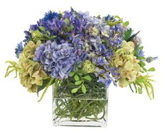 Natural Decorations, Inc. - Agapanthus Hydrangea Blue Green, Glass Cube