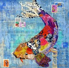 """Koi 13068"" - Torn Paper Collage , See ArtByte collage tutorial on DPW, Original Fine Art for Sale - © Nancy Standlee"