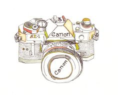 Canon Camera Illustration. £50.00, via Etsy.