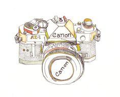 Canon Camera Illustration. £50.00, via Etsy.