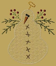 PK024 Snowman Angel - 4x4: Primitive Keepers, Prim Machine Embroidery Designs