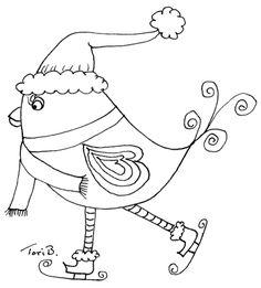 ice skating drawings   Crudoodle, Free Digital Stamp Ice Skating Birdie by Tori Beveridge