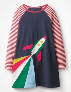 Rocket Appliqué Dress (School Navy)