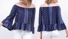 Esquema de modelagem de blusa ciganinha com manga e babados do 36 ao 56.