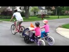 bike chariot diy with 2 twins bikes attached