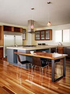 I Really Love How They Built A Sit Down Table Off The Kitchen Island~ The