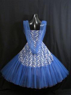 Vintage 50-х годов 20 века 50-х годов без бретелек синий белый шифон тюль выпускное вечернее свадебное платье | eBay