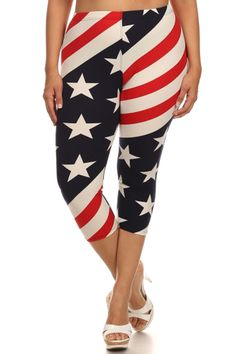 Stars & Stripes Design Plus Size Capri Leggings – Niobe Clothing