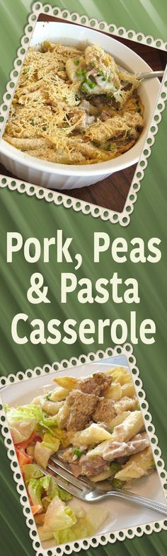 Leftover pork, peas pasta, and a white sauce, topped with bread crumbs & Parmesan - YUM! Leftover Pork Recipes, Leftover Pork Chops, Pork Chop Recipes, Hamburger Recipes, Penne Pasta, Pork Pasta, Pasta Casserole, Easy Casserole Recipes, Pork And Peas Recipe