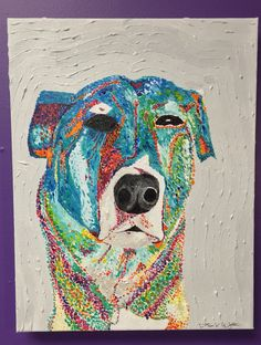 Custom Dog Portrait, Pet Portrait, Dog portrait, Dog Painting, wall art, home decor, acrylic, pointillism
