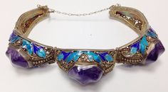 Antique Chinese Silver Bracelet with Enamel and Amethysts | eBay