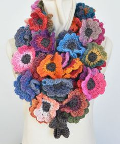 Multicolor Flowers Crochet Scarf by jennysun on Etsy - wow!
