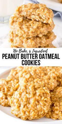Peanut butter no bake cookies are filled with peanut butter and oatmeal for the perfect chewy cookie recipe. They're insanely easy to make, only 6 ingredients, and completely addictive. from Just So Tasty # Peanut Butter No Bake Cookies Chocolate Cookie Recipes, Easy Cookie Recipes, Good Healthy Recipes, Oatmeal Recipes, Easy Recipes, Dinner Recipes, Dessert Recipes, Bake Goods Recipes, Chocolate Chips