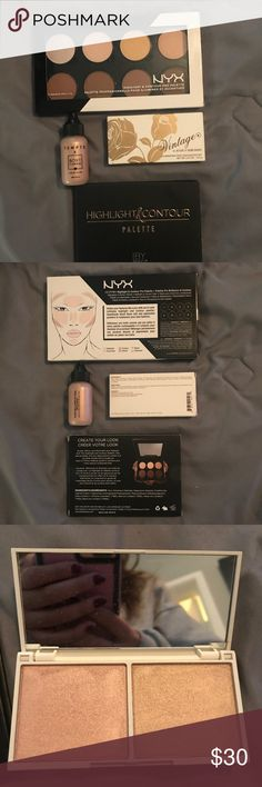Highlight and contour bundle Nyx highlight and contour kit, another kit from boxycharm that is similar. And 2 highlights. All brand new never used. 90$ value NYX Makeup Luminizer