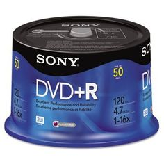 DVD+R Discs, 4.7GB, 16x, 50/Pack by Sony. $24.83. DVD+R Discs