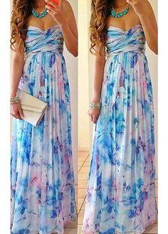 Floral Print High Waist Maxi Dress