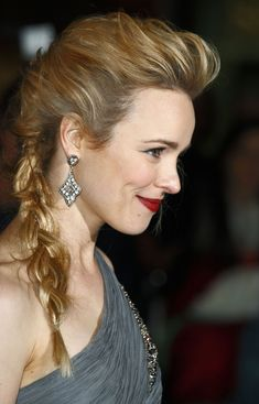 Rachel: Clean simple eye and red lip. Gorgeous messy side braid. Classic beauty.