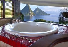 heaven bath for 2 with a view... scenic soaking at Jade Mountain, Saint Lucia