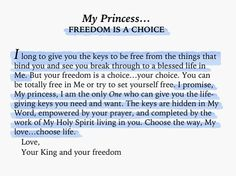 To My Princess... freedom is a choice