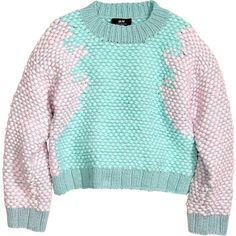 H&M Chunky-knit jumper (£35) ❤ liked on Polyvore featuring tops, sweaters, jumpers, shirts, mint, mint blue shirt, blue sweater, blue top, blue jersey and jersey shirts