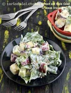 Baby Spinach and Apple Salad in Curd Lemon Dressing, Healthy recipe Veg Salad Recipes, Cabbage Salad Recipes, Salad Recipes For Dinner, Healthy Salads, Healthy Recipes, Healthy Eating, Healthy Lunches, Healthy Desserts, Healthy Food