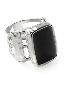 "Bansela Chic & Unique Black Onyx Ring... Smooth classic onyx in an artfully rustic silver overlay setting will soon become your favorite ring. Stone is 1/2"" x 3/4""."