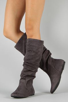 Soda Zuluu-S Suede Slouchy Knee High Flat Boot