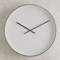 simple - minimal - Mr. White Wall Clock by West Elm - white face - white numbers - black hands