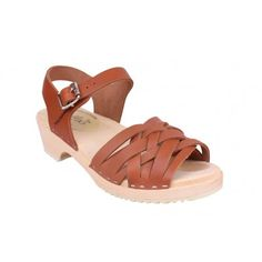 51895801481c Womens Low Heeled Wooden Braided Clogs in Tan Leather.