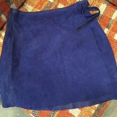 "Blue Leather Philosophy Miniskirt Amazing 100% leather wrap around mini. Made in Italy. 26"" waist 15.5"" length. Philosophy di Alberta Ferretti Skirts Mini"