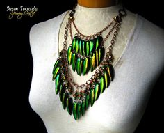 TITANIA'S SHIELD - Fairy Elytra Jewel Beetle Wing Bib Amulet Necklace by Susan Tooker of Spinning Castle.