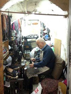 Shoe cobbler in the Arab Market of Old Jerusalem