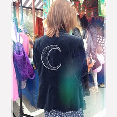 This lady absolutely loved her velvet embroidered jacket! We only made it last night as well!  What do you think? ✨ #embroidered #velvet #vintage #moon #mystical #recycled #reworked #upcycled