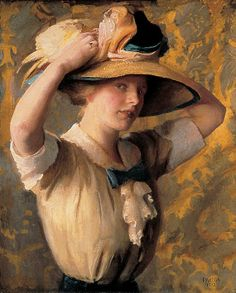 """""""Shade Hat"""", 1912, by William McGregor Paxton (American, 1869-1941)"""